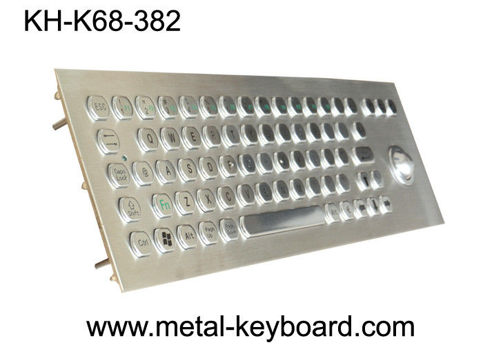 Panel Mount Metal Industrial PC Keyboard with Waterproof Trackball