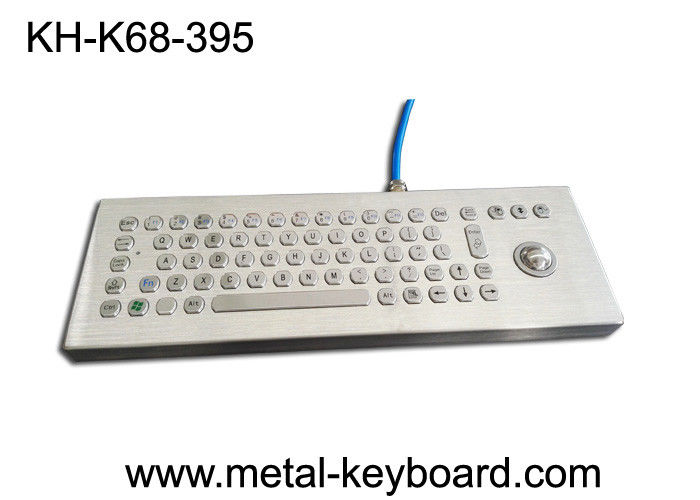 70 Keys Rugged Industrial metal computer keyboard with 25mm trackball