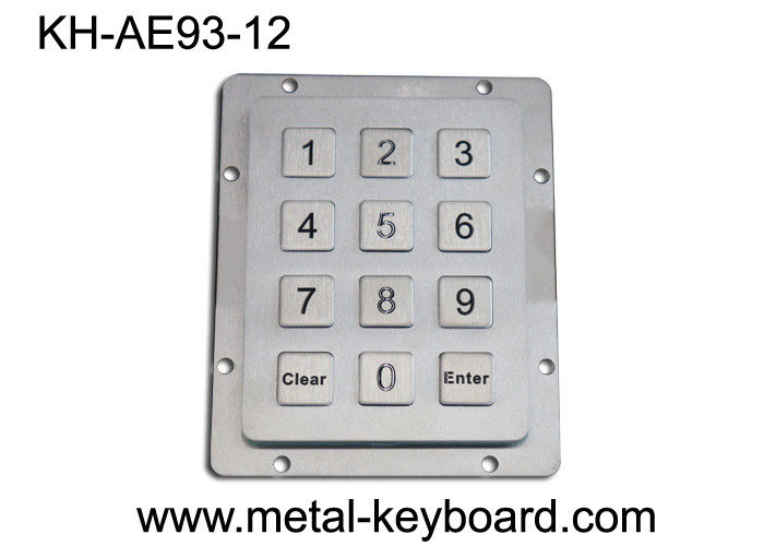 IP65 ruggedized Metal Keypad , 12 Keys Industrial stainless steel keypad